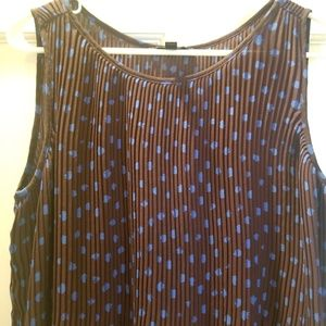 Printed polka dot Purple chiffon pleated blouse XS